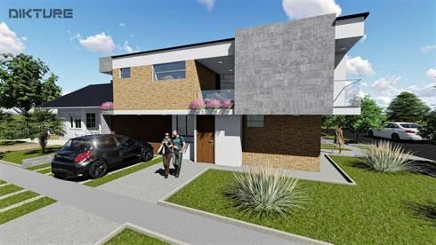 Fachada lateral - Ingreso 2 Aptos : Casas de estilo moderno por DIKTURE Arquitectura + Diseño Interior