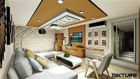Centro de entretenimiento: Sala multimedia de estilo  por DIKTURE Arquitectura + Diseño Interior
