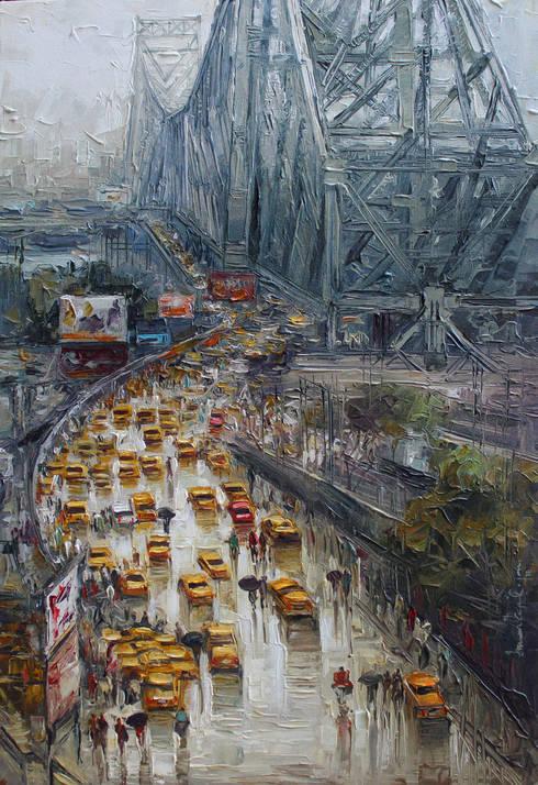 Kolkata wet street:  Artwork by Indian Art Ideas