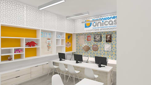 Diseño de oficinas-showroom : Oficinas y tiendas de estilo  por Dies diseño de espacios