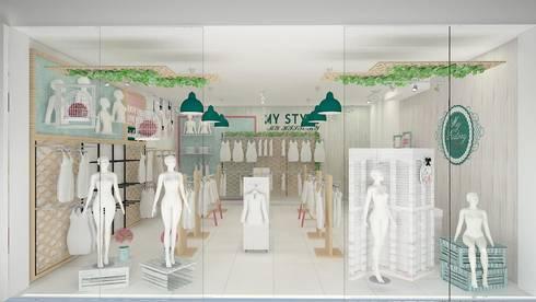 Diseño de tienda de ropa: Oficinas y tiendas de estilo  por Dies diseño de espacios