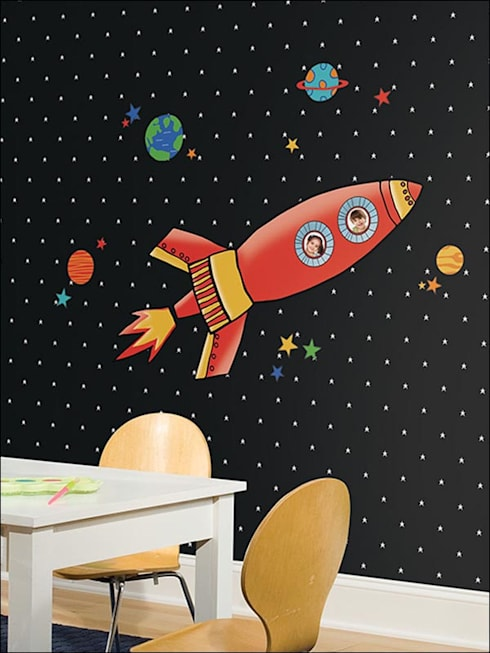 Wallpaper and Decals: modern Media room by CKW Lifestyle