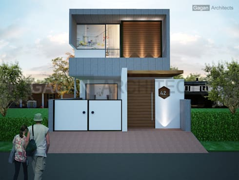 Modern House:   by Gagan Architects