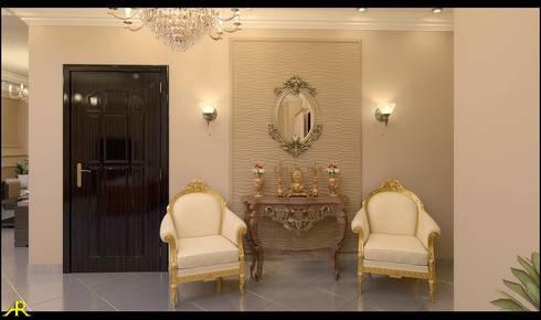 شقة مصرية بتصميم بين الكلاسيك والمودرن:  غرفة المعيشة تنفيذ Etihad Constructio & Decor