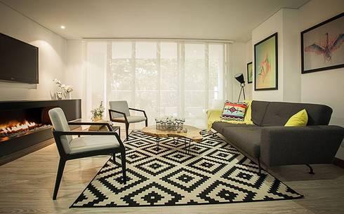 Apto  Felisa: Salas de estilo escandinavo por Maria Mentira Studio