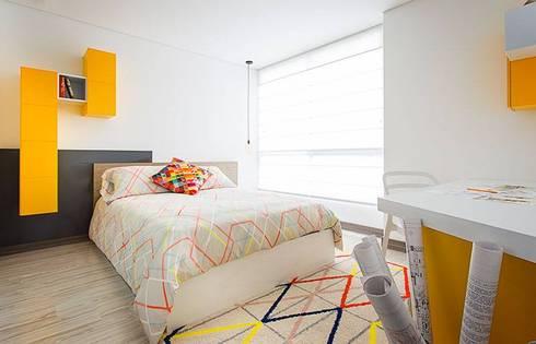 Apto  Felisa: Habitaciones de estilo moderno por Maria Mentira Studio