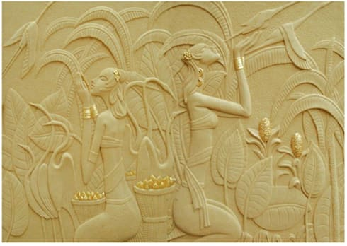 3 D Gold Leafed Mural Mint White Sandstone - Apsaras reaping Gold Corn: classic Living room by HOUZDECOR