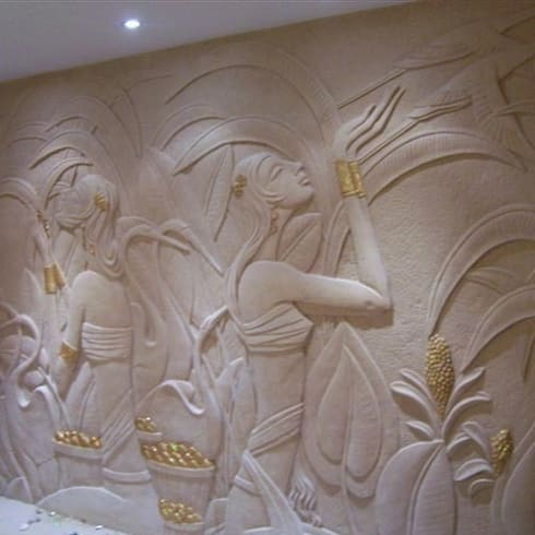 3 D Gold Leafed Mural Mint White Sandstone—Apsaras reaping Gold Corn: classic Living room by HOUZDECOR
