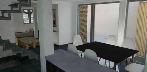 Vista desde cocina a hall acceso: Cocinas de estilo moderno por DIMA Arquitectura y Construcción
