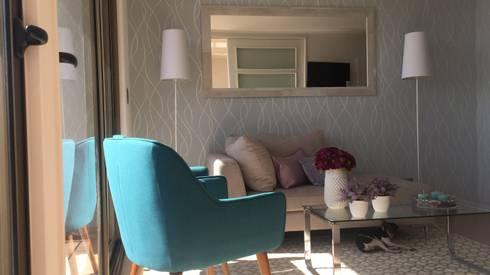 Decoracion de living para departamentos nuevos.: Livings de estilo moderno por Studio Barla