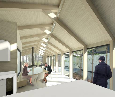 Vista desde cocina: Pasillos y hall de entrada de estilo  por GAALGO Arquitectos