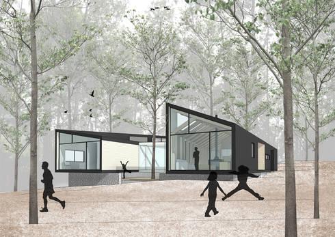 Vista patio: Casas de estilo moderno por GAALGO Arquitectos