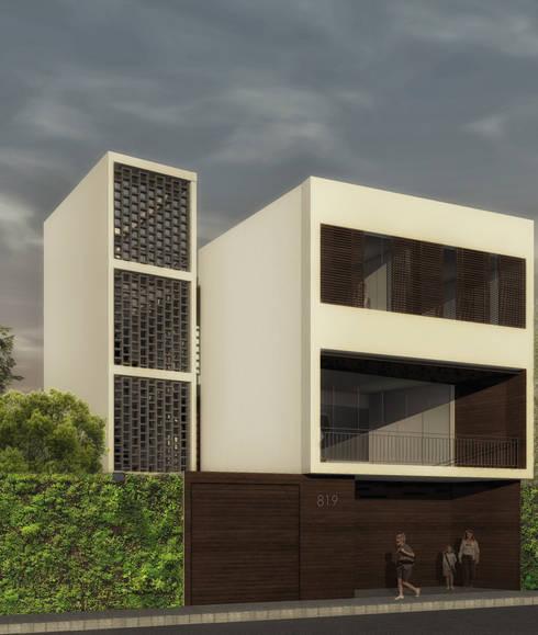 Casa Bernal: Casas de estilo minimalista por POMAC Arquitectos
