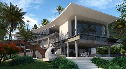 Fachada : Casas de estilo moderno por Vivian Dembo Arquitectura