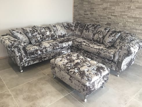 Crushed Velvet Corner Chesterfield Sofa By Sofas In