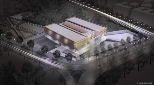 AERIAL CGI OF PROPOSED INDIAN NATIONAL WAR MUSEUM:   by Horizon Design Studio Pvt Ltd