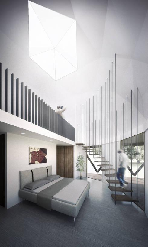 Domo/dormitorio : Dormitorios de estilo minimalista por B+V Arquitectos