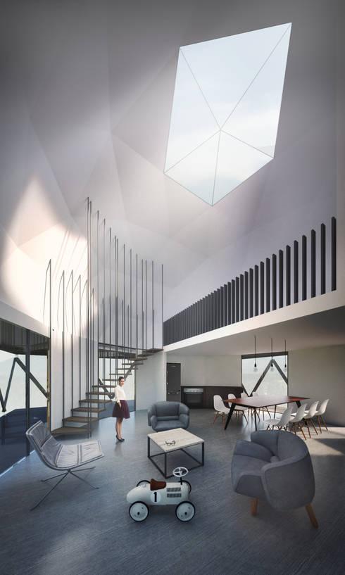 Domo/Living comedor: Livings de estilo minimalista por B+V Arquitectos