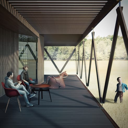 Terraza exterior: Casas de estilo minimalista por B+V Arquitectos
