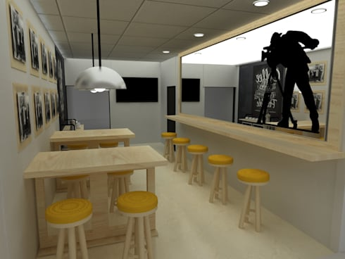 CAFETERIA INDUSTRIAL MODULAR: Comedores de estilo rústico por SIMETRIC ARQUITECTURA INTERIOR