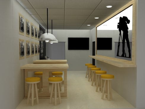 CAFETERIA INDUSTRIAL MODULAR: Comedores de estilo industrial por SIMETRIC ARQUITECTURA INTERIOR