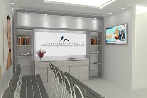 MUEBLE DE GUARDADO: Oficinas y tiendas de estilo  por SIMETRIC ARQUITECTURA INTERIOR