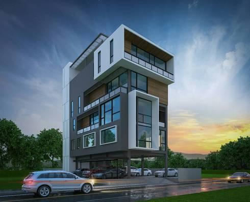 HOME OFFICE:  กำแพง by  good space  plus interiror- architect co.,ltd