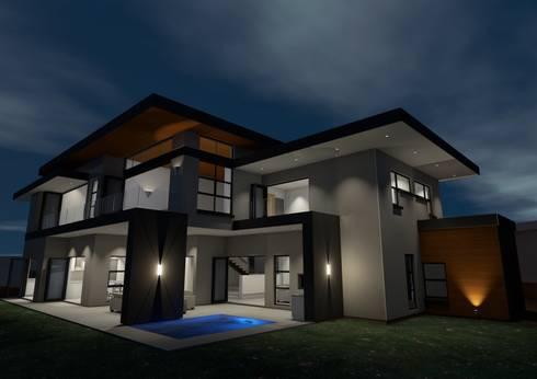 North western garden dusk perspective: modern Houses by Seven Stars Developments