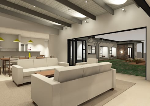 Living room viewed from covered patio:   by Seven Stars Developments