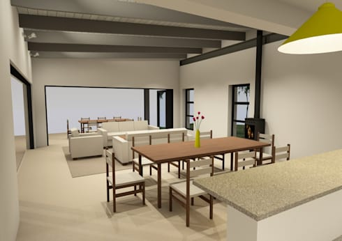 Living space viewed from kitchen:   by Seven Stars Developments