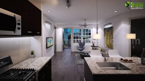 Esempio degli Interni soggiorno e cucina design par Yantram Design ...