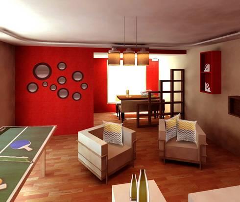 Sala de Juegos: Salas multimedia de estilo moderno por Perfil Arquitectónico