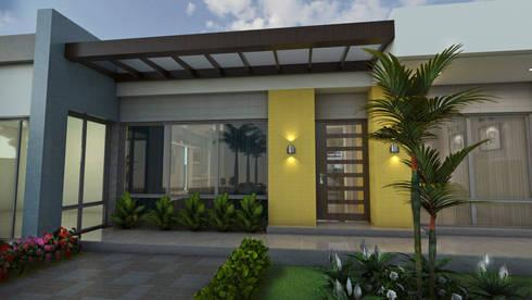 Entrada principal: Casas de estilo moderno por Arquitecto Pablo Restrepo