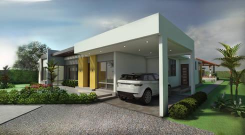 Fachada principal - Garaje: Garajes de estilo moderno por Arquitecto Pablo Restrepo