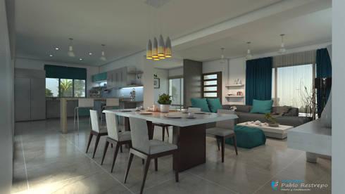Diseño interior - Comedor: Comedor de estilo  por Arquitecto Pablo Restrepo
