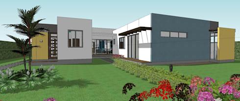 Fachada posterior - salida al Kiosco y piscina: Casas de estilo moderno por Arquitecto Pablo Restrepo