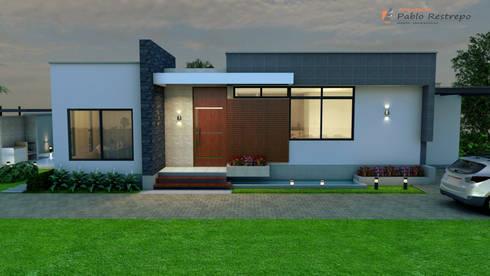Casa campestre tropical moderno de arquitecto pablo for Fachadas de casas campestres de un piso