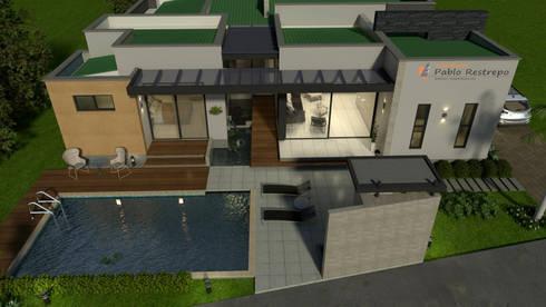 Perspectiva aérea - areas comunes, zona humeda: Casas de estilo moderno por Arquitecto Pablo Restrepo