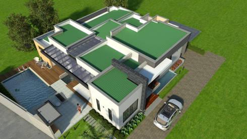 Perspectiva aérea de los techos: Casas de estilo moderno por Arquitecto Pablo Restrepo