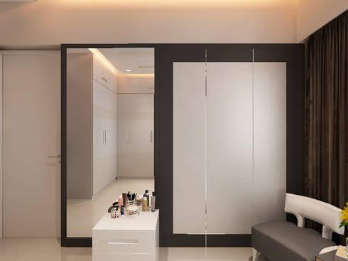 walkin wardrobe : modern Bedroom by Neelanjan Gupto Design Co