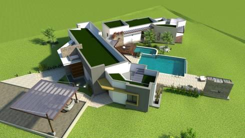 Persperctiva aérea, cubiertas: Casas de estilo moderno por Arquitecto Pablo Restrepo