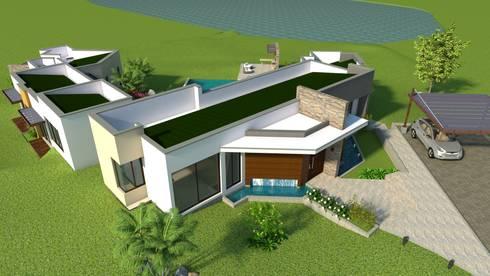 Perspectiva aérea - fachada principal: Casas de estilo moderno por Arquitecto Pablo Restrepo