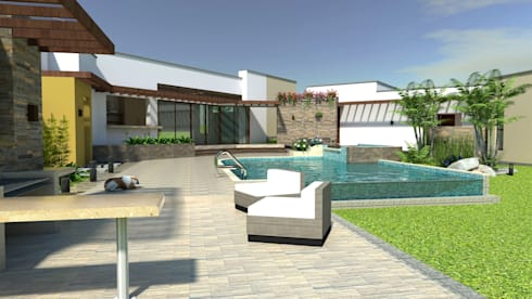 Zona húmeda, piscina, Bbq, terrazas, deck: Piscinas de estilo moderno por Arquitecto Pablo Restrepo