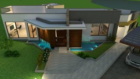 Fachada Principal - iluminacion: Casas de estilo moderno por Arquitecto Pablo Restrepo