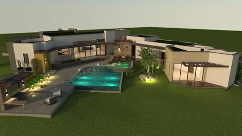 Vista de la zona húmeda, áreas comunes: Casas de estilo moderno por Arquitecto Pablo Restrepo