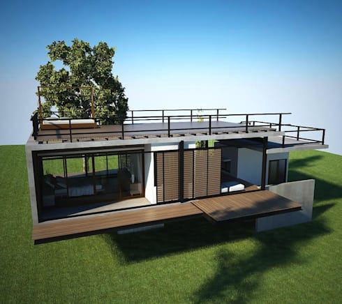 บ้านธรรมชาติโอบกอด:  บ้านและที่อยู่อาศัย by LEVEL ARCHITECT