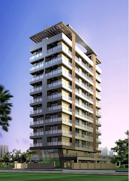 J B Tower: modern Houses by Koncept Architects & Interior Designers,