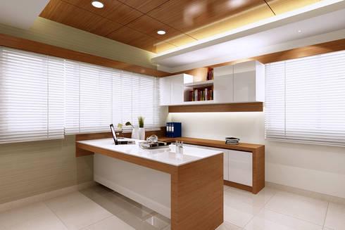 Managing Directors Desk: modern Study/office by Mah-Dee group