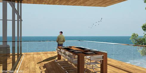 Terraza con vista al océano: Terrazas  de estilo  por Smartlive Studio