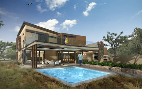 Pool Exterior View: modern Houses by Koen and Associates Architecture